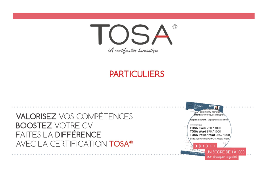 Certification Tosa pour particuliers